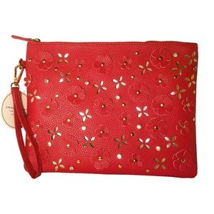 Under One Sky Laser Cut Flower Red Wristlet Bag